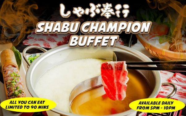 Shabu Champion Buffet with Free Flow Soft Drinks
