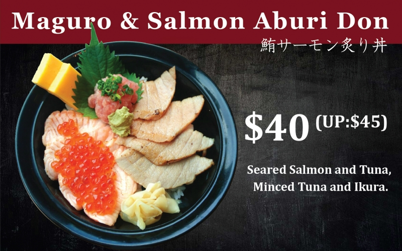 Maguro and Salmon Aburi Don