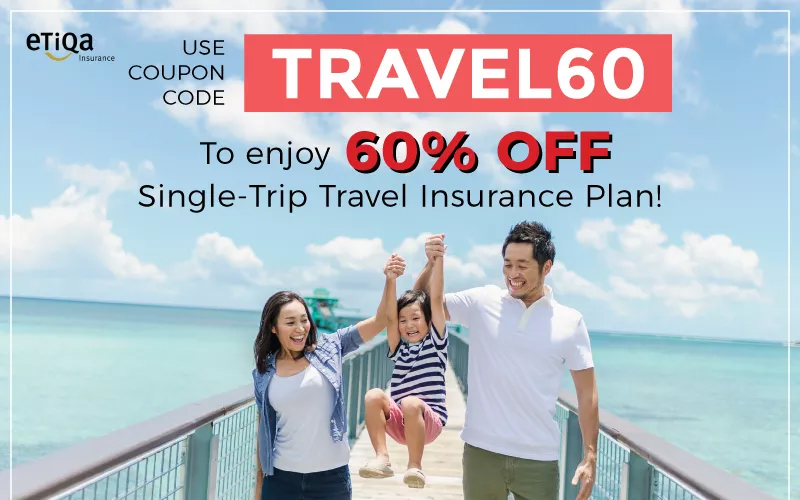 Enjoy 60% OFF Single Trip Insurance Plan by using coupon code TRAVEL60