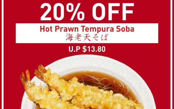 20% OFF Hot Prawn Tempura Soba (U.P. $13.80)