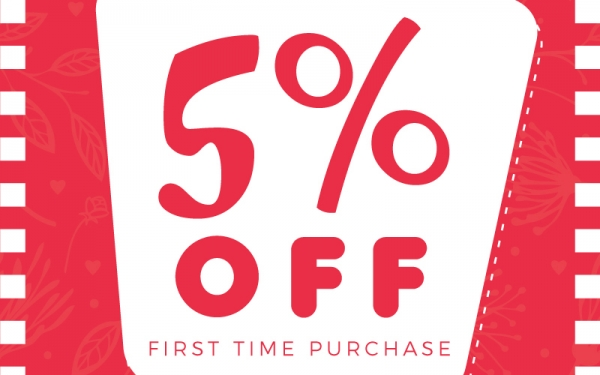 5% Off First Time Purchase