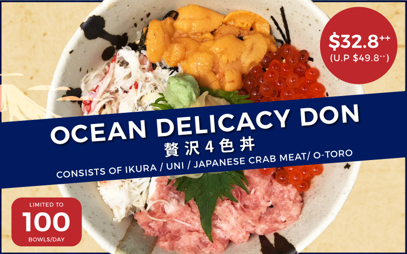 Enjoy Ocean Delicacy Don for only $32.80++ only at Maguro Donya