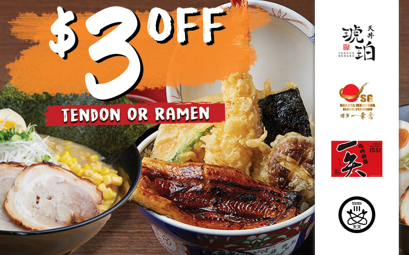 New $2.90 Japanese Black Vinegar Drink, Seasonal Cheesy Autumn Tendon, $3 Off Ramen & Tendon and many more!