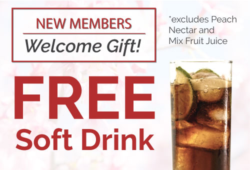 Free New Member Welcome Soft Drink