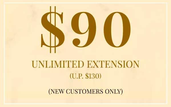 $90 Unlimited Eyelash Extension (U.P. $130)