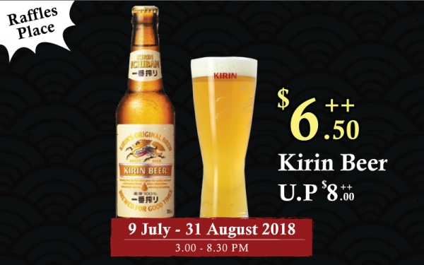 Raffles Place: Kirin Beer for only $6.50 (U.P $8)3pm ~ 8:30pm