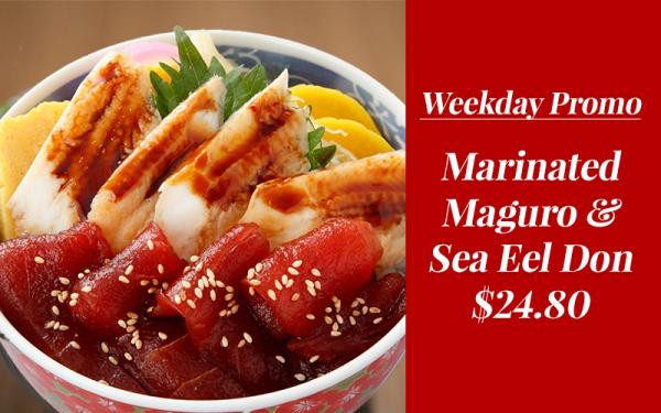 Marinated Maguro & Sea Eel Don - $24.80 (Weekdays Only)