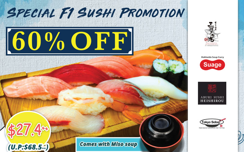 60% Off 9-kinds Sushi, 1-for-1 Chirashi Don & Okonomiyaki and many more!