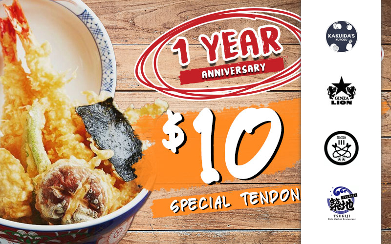 $10 Special Tendon, Free Flavoured Egg, 40% Off Salmon Sashimi and many more!