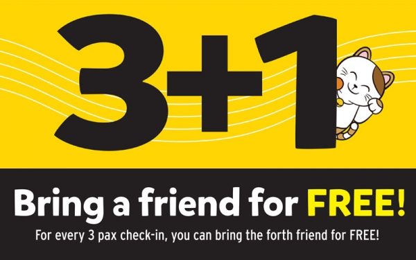 SCAPE: 3+1 - Bring a friend for FREE for every 3 pax check-in