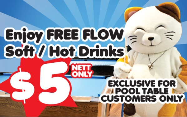 SAFRA MOUNT FABER: Free Flow Soft/ Hot Drink $5 Nett [Exclusive for Pool Table customer!]