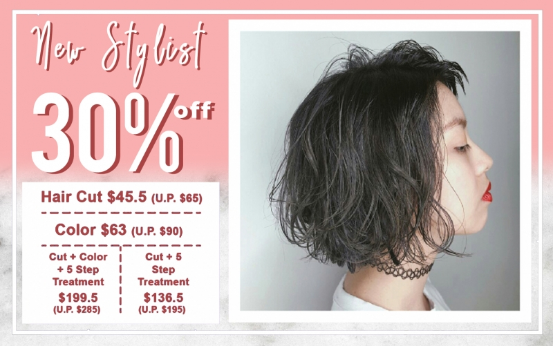 New Stylist 30% Off all menu everyday (New customer only)