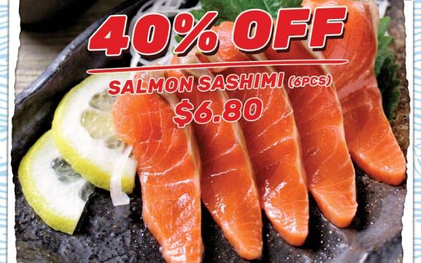 40% OFF Salmon Sashimi (6 pcs) $6.80