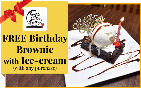 Birthday Special - Free Brownie with Ice-cream & candles