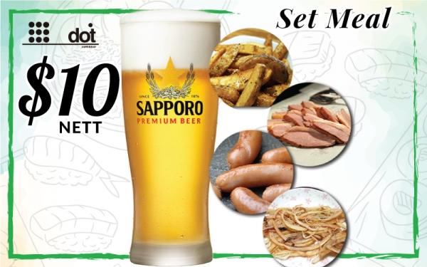 Dot Bar - $10 Nett Set Meal: Sapporo Beer + 1 Tapas (potato wedges/sausage/smoked duck/shredded dry squid)