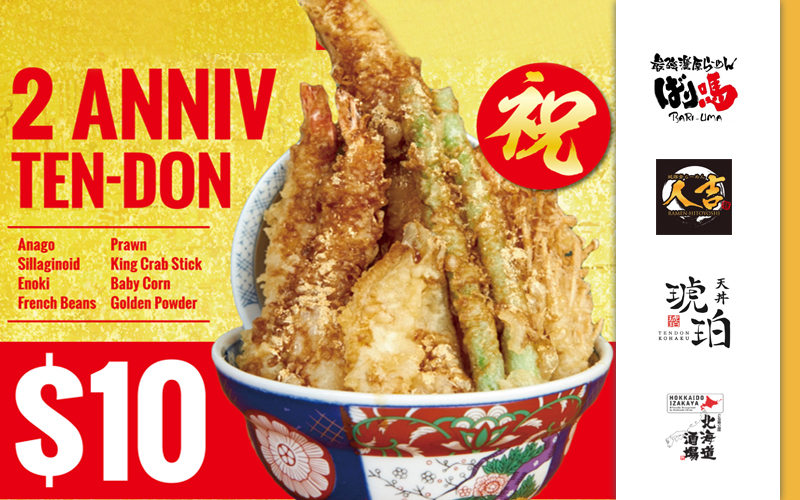 [Ended] Anniversary Promotions - $10.90++ Special Chashu Ramen, $10 Anniv Ten-don and many more interesting menu specials!