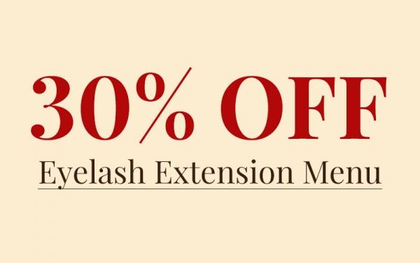 30% Off Eyelash Extension Menu
