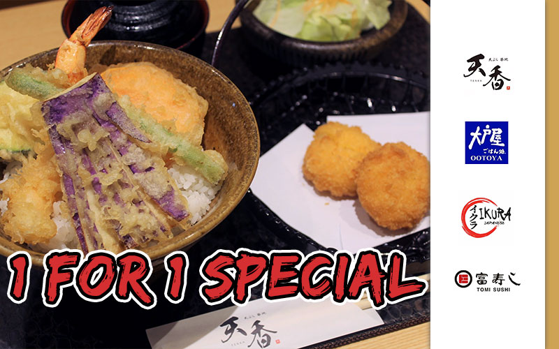 1-for-1 Signature Tendon & Grilled Squid Legs! Seasonal Sanma Fair from $8 and many more!