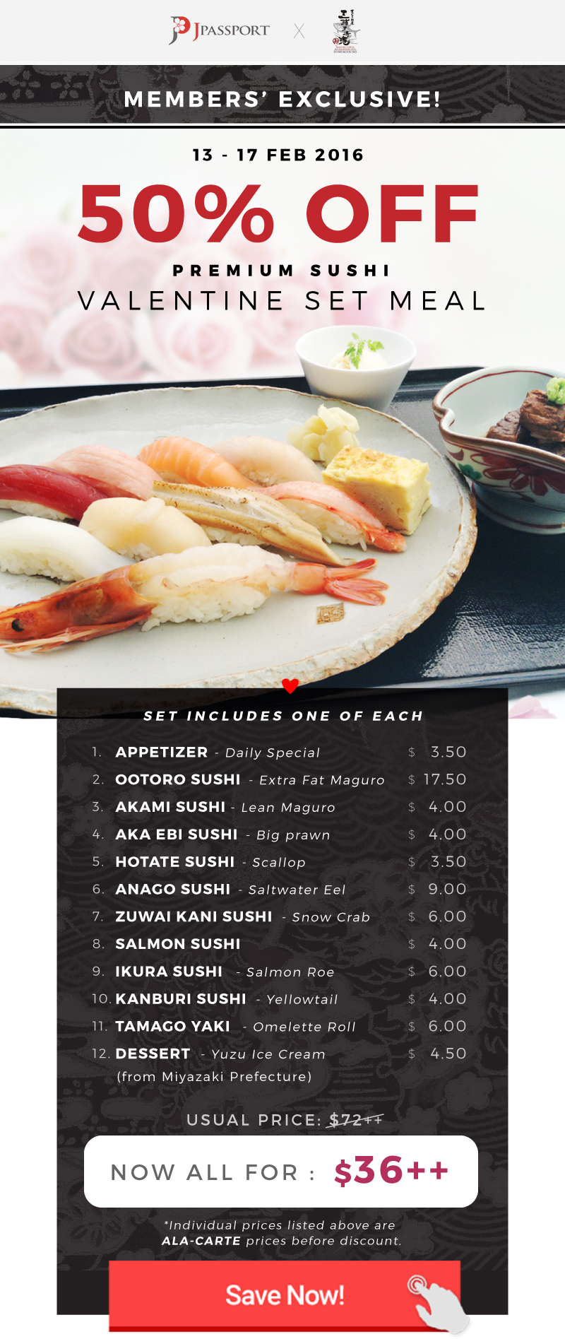 50% OFF! <3 Premium Sushi Set Meal for you and your special